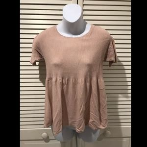 Ann Taylor Loft Dusty Pink Short Sleeve Ribbed Kni